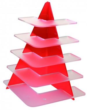 Présentoir Trangle - Rouge - 5 niveaux