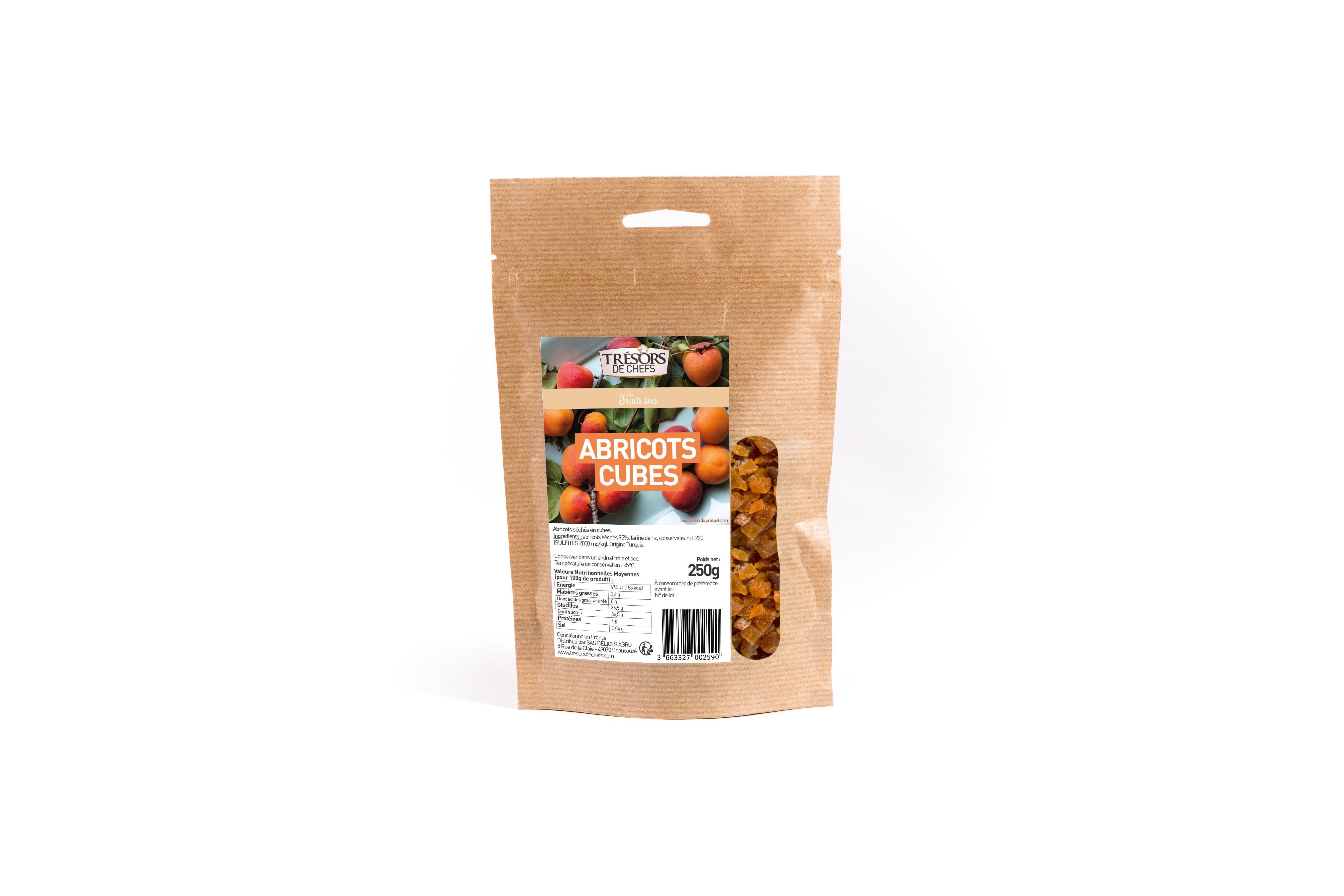 Abricots cubes 5-5mms - 250g