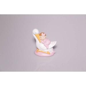 Sujet fille bébé cigogne - x1