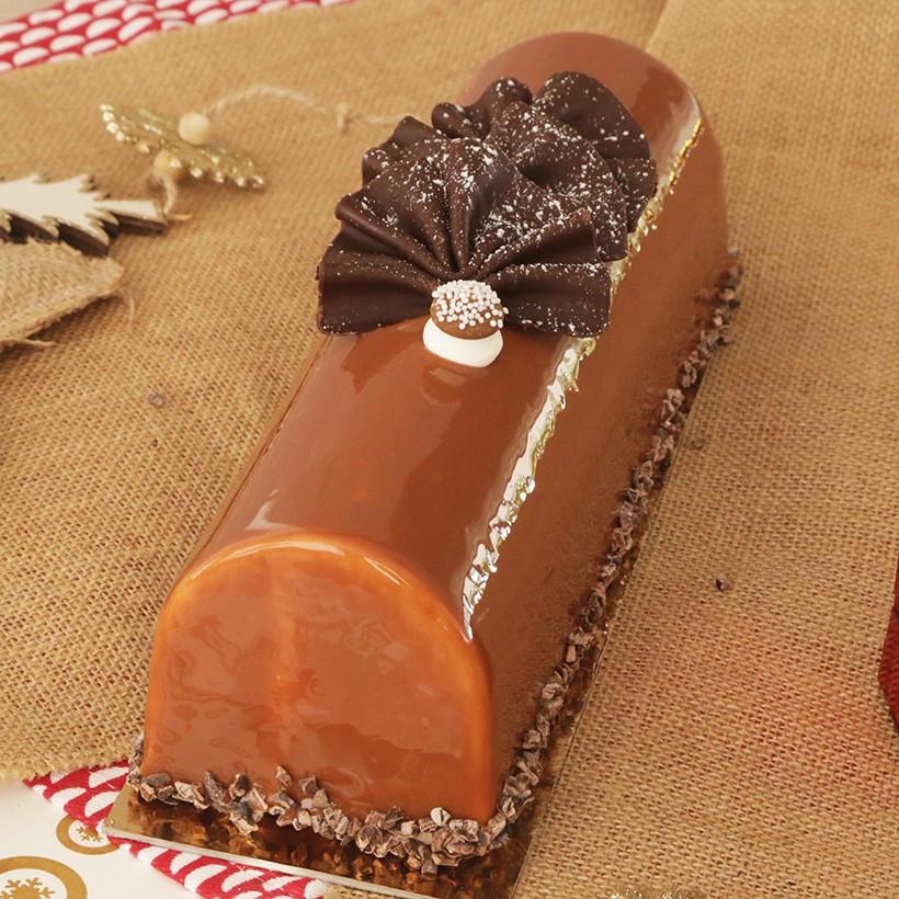 Recette de bûche caramel praliné