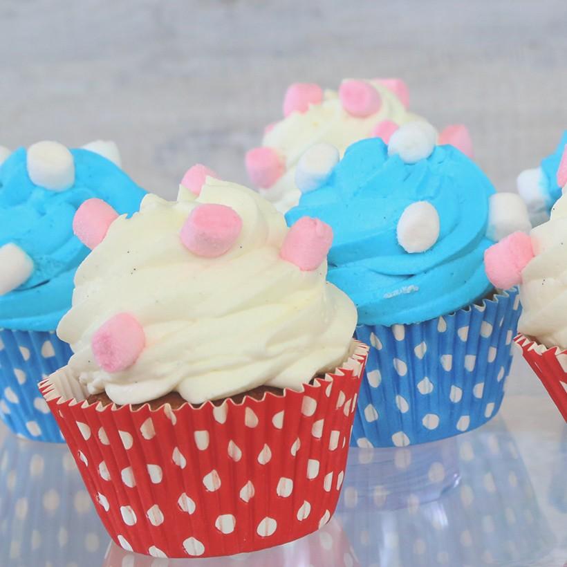 Recette de cupcakes roses ou bleus