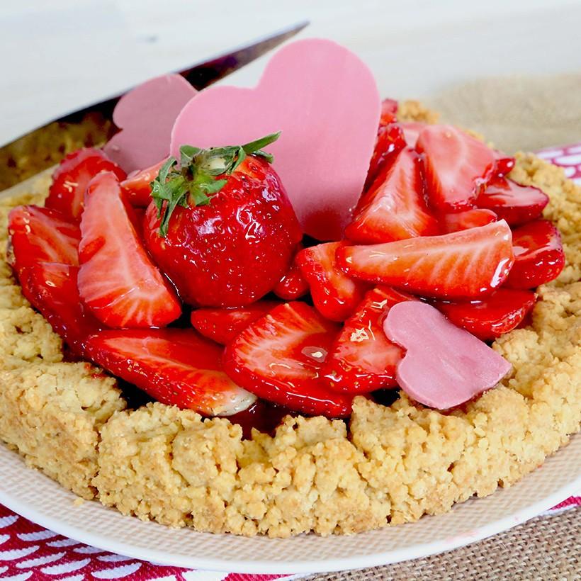 Recette de tarte aux fraises et crumble