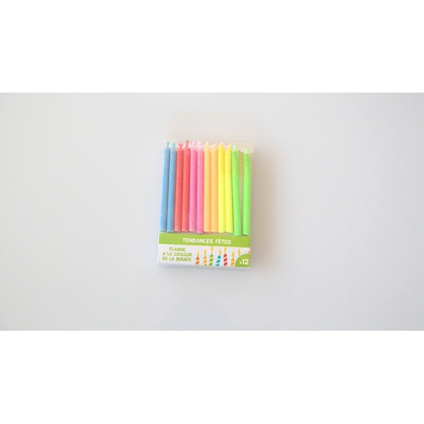 Bougies flammes multicolores x12