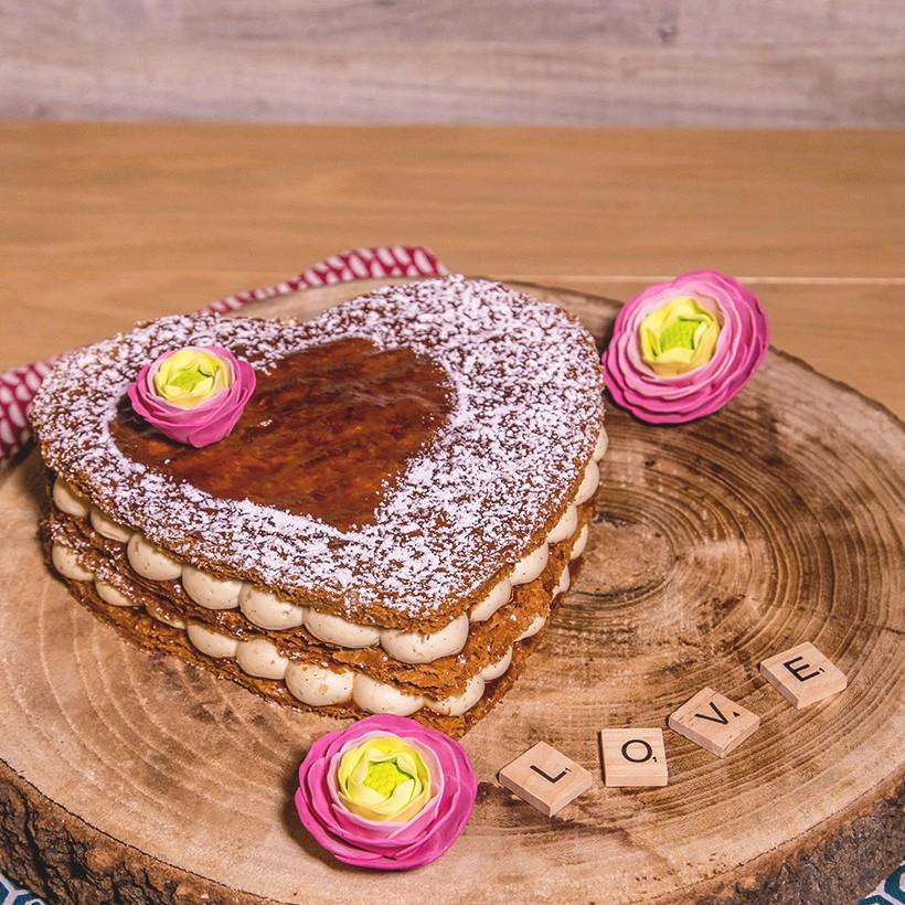 Recette de millefeuille St Valentin coeur coquelicot framboise