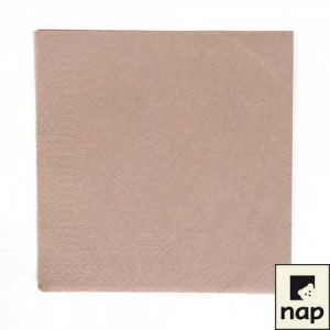 Serviettes cocktail - Taupe - Paquet de 100