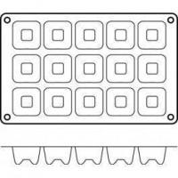 Moules silicone 15 savarins carrés.