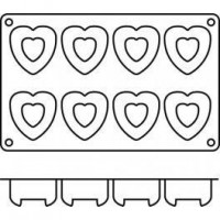 Moules silicone 8 savarins cœurs.