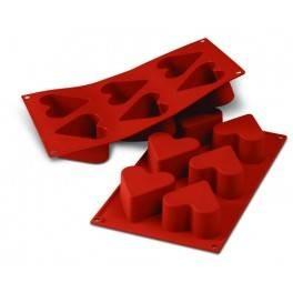 Moules silicone 6 cœurs.