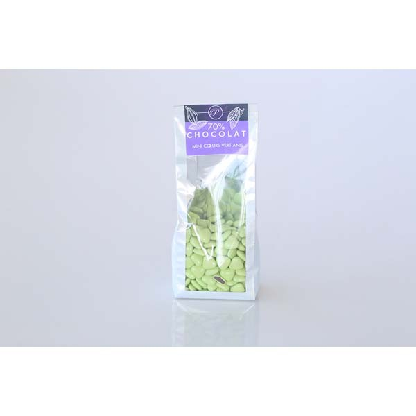 Dragées Mini-coeurs - 250g - Vert Anis