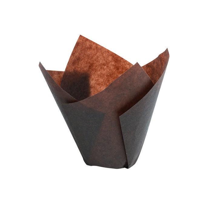 Caissette Tulipcup marron - x200 - 50 x 95 mm