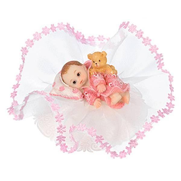 Sujet baptême bébé rose