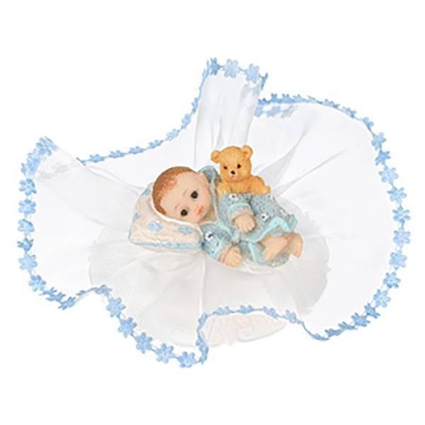 Sujet baptême bébé bleu