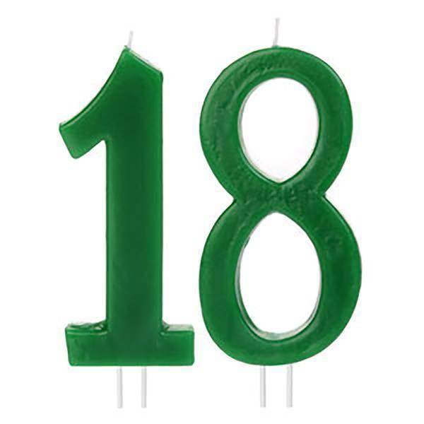 Bougies chiffres 18 ans vert