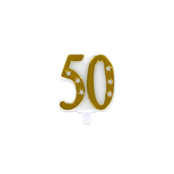 Bougie chiffre 50 ans or