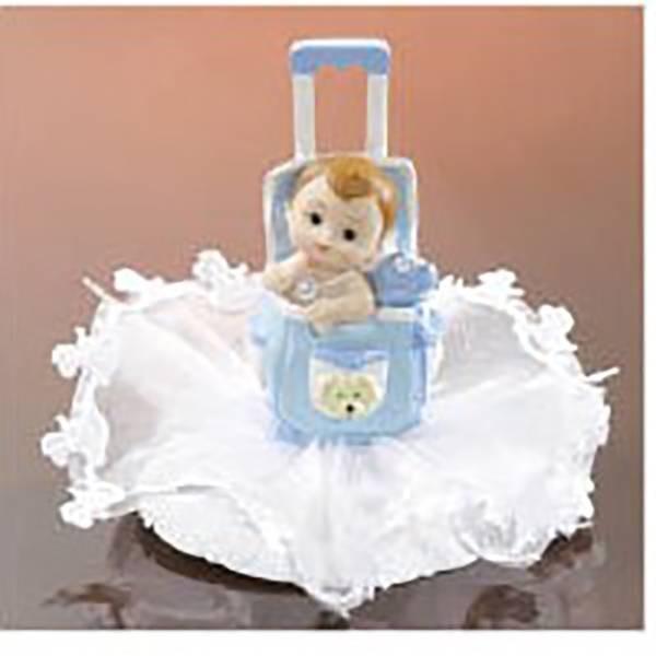 Sujet bébé poussette bleue
