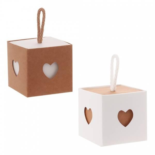 Boîte Kraft coeur avana et blanc