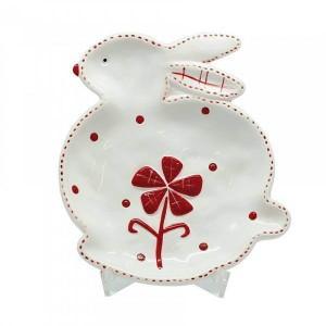 Assiette lapin fleur rouge