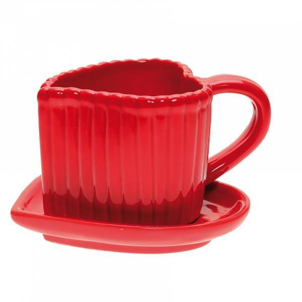 Tasse coeur + sous tasse